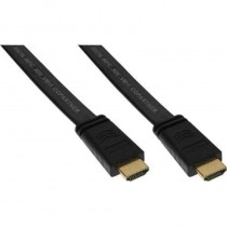 InLine HDMI Flachkabel, HDMI-High Speed mit Ethernet, verg. Kontakte, schwarz, 1m